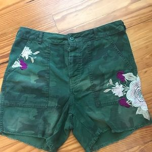 Free people camo high washed shorts